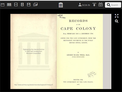 records of the cape colony